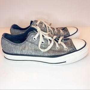 Converse All Stars Silver Shimmer Canvas Sneakers